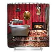 Bathroom Retro Style Shower Curtain