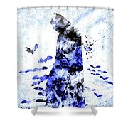 Batman Colored Grunge Shower Curtain