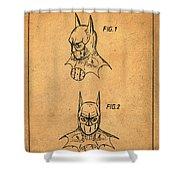 Batman Cowl Patent In Sepia Shower Curtain
