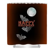 Bats And The Moonlight - Happy Halloween Shower Curtain