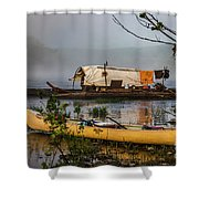 Batteau And Canoe In Fog At Galt's Mill 1708 Shower Curtain