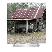 Battered Barn And Weathered Wagon Shower Curtain