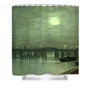Battersea Bridge By Moonlight Shower Curtain by John Atkinson Grimshaw