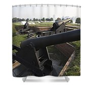 Battery Of Cannons At Fort Mchenry Shower Curtain