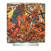 Battle Between Crusaders And Muslims Shower Curtain