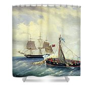 Battle Between The Russian Ship Opyt And A British Frigate Off The Coast Of Nargen Island  Shower Curtain