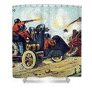 Battle Cars, 1900s French Postcard Shower Curtain