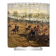 Battle Of Gettysburg Shower Curtain by Thure de Thulstrup
