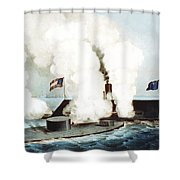 Battle Of The Monitor And Merrimack Shower Curtain