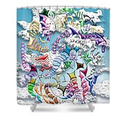 Battling Kites -- Blue Shower Curtain