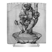 Bauer Goose With A Fountain Figure Shower Curtain