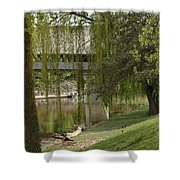 Bavarian Covered Bridge Over The Cass River Frankenmuthmichigan Shower Curtain