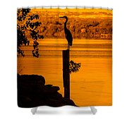 Bay At Sunrise - Heron Shower Curtain