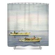 Bay Boats Scalloping Shower Curtain