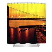 Bay Bridge Black And Orange Shower Curtain