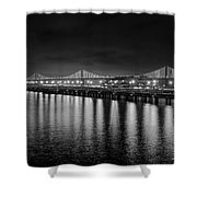 Bay Bridge San Francisco California Black And White Shower Curtain