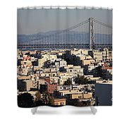 Bay Bridge With Houses And Hills Shower Curtain