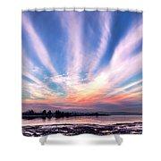 Bay Farm Island Sunrise Shower Curtain