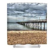 Bay Side Lynnhaven Fishing Pier Shower Curtain