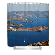 Bay View On Patmos Island Greece Shower Curtain