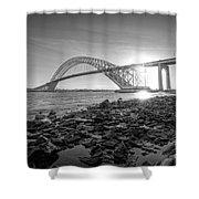 Bayonne Bridge Black And White Shower Curtain
