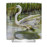 Bayou Caddy Great Egret Shower Curtain