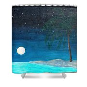 Bayport Moon Rising  Shower Curtain
