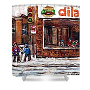 Scenes De Rue De Montreal St Henri Partie De Hockey En Hiver Hockey At Dilallo's Burger Shower Curtain