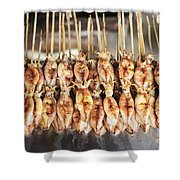 Bbq Asian Grilled Squid In Kep Market Cambodia Shower Curtain