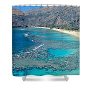 Beach And Haunama Bay, Oahu, Hawaii Shower Curtain