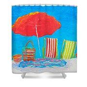 Beach Art - The Red Umbrella Shower Curtain