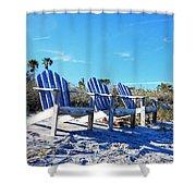 Beach Art - Waiting For Friends - Sharon Cummings Shower Curtain