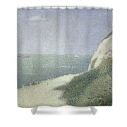 Beach At Bas Butin Shower Curtain by Georges Pierre Seurat