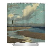 Beach At Low Tide Shower Curtain by Frederick Milner