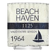 Beach Badge Beach Haven Shower Curtain