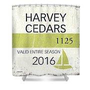 Beach Badge Harvey Cedars Shower Curtain