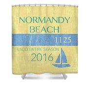 Beach Badge Normandy Beach 2 Shower Curtain