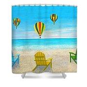Beach Balloon Festival Shower Curtain