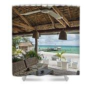 Beach Bar In Sok San Area Of Koh Rong Island Cambodia Shower Curtain