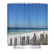 Beach Behind The Fence Shower Curtain