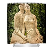 Beach Buddies Blue Water Sand Sculpture Shower Curtain