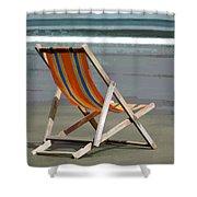 Beach Chair And Ocean Stripes Shower Curtain