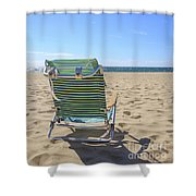 Beach Chair On A Sandy Beach Shower Curtain