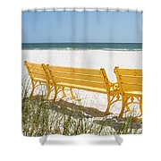 Beach Chairs By Darrell Hutto Shower Curtain