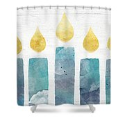 Beach Colors Menorah- Art By Linda Woods Shower Curtain
