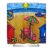 Beach Colours Shower Curtain by Lisa  Lorenz