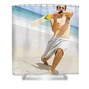 Beach Cricket Slog Shower Curtain
