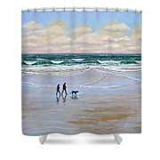 Beach Dog Walk Shower Curtain