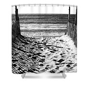 Beach Entry Black And White Shower Curtain
