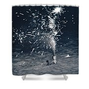 Beach Fire Works Shower Curtain